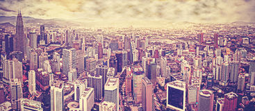 Vintage toned skyline of Kuala Lumpur, Malaysia Royalty Free Stock Image