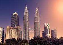 Vintage toned skyline of Kuala Lumpur, Malaysia. Stock Photo