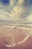 Vintage toned stormy sky over sea Royalty Free Stock Image