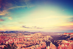 Vintage toned sunset over Bryce Canyon, USA. Stock Photography
