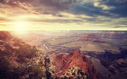 Vintage toned sunset over Grand Canyon. Royalty Free Stock Photo