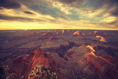 Vintage toned sunset over Grand Canyon. Stock Image