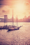 Vintage toned sunset over Hudson River in New York City Stock Photos