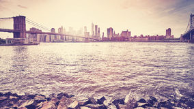 Vintage toned sunset over New York, USA Stock Photography