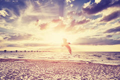 Vintage toned sunset over sea. Royalty Free Stock Photography