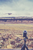 Vintage toned telescope used by wildlife watchers and hunters. Stock Images