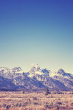 Vintage toned view of Grand Teton mountain range, Wyoming, USA Royalty Free Stock Photos