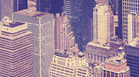 Vintage toned view of skyscrapers in New York City. Stock Photos