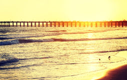 Vintage toned wooden pier on beach at sunset, California, USA Royalty Free Stock Images