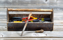 Vintage Toolbox filled with work Tools Stock Photos