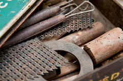 Vintage tools in an antique tool box. Close up royalty free stock photos