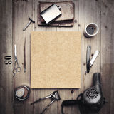 Vintage tools of barber shop with blank kraft canvas Stock Photo