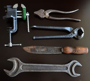 Vintage tools. On a dark background Stock Image