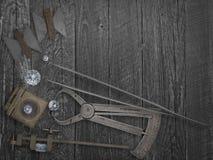 Vintage tools and diamonds Royalty Free Stock Photos