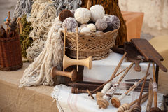 Vintage tools and natural wool. To make ecological clothing Royalty Free Stock Images