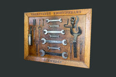 Vintage tools panel. Isolated on dark background royalty free stock images