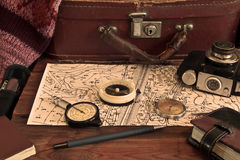 Vintage tools of a traveler, compass,  camera, suitcase Stock Photo