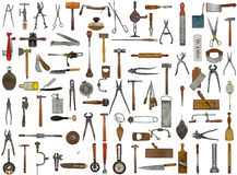 Vintage tools and utensils. Collage background Stock Photography