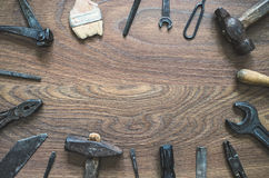 Vintage tools on wooden background. Fathers day card. Royalty Free Stock Photo