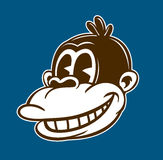 Vintage toons cartoon smiling monkey face vector illustration. Vintage toons: retro cartoon monkey character, smiling ape face, classic style vector illustration Stock Photography