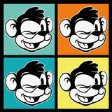 Vintage toons. four images of retro cartoon character smiley and winks monkey on the colorful background Stock Photography