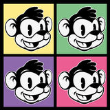 Vintage toons. images of retro cartoon character smiley monkey on four different colorful background. Squares Royalty Free Stock Photos
