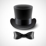 Vintage top hat and a bow tie. Vector illustration Stock Photo