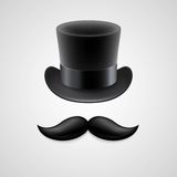 Vintage  top hat, mustaches. Vector illustration Stock Images