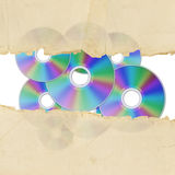 Vintage torn paper and cd Royalty Free Stock Photo