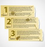 Vintage torn paper progress option labels. With description or grunge numbered banners Royalty Free Stock Photography