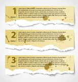 Vintage torn paper progress option labels. Grunge torn paper progress option labels with description or vintage numbered banners Royalty Free Stock Photo