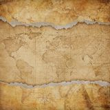 Vintage torn world map. Medieval vintage torn world map stock illustration