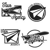 Vintage tour agency emblems Royalty Free Stock Photos