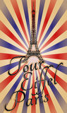 Vintage tour eiffel. Illustration of tour eiffel with text, vintage effect Stock Images