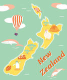 Vintage tourist poster of New Zealand. With penguin, whale, balloon, dolphin etc Vector Illustration