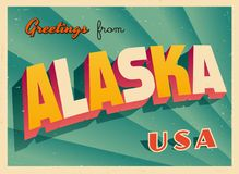 Vintage Touristic Greeting Card from Alaska. Vintage Touristic Greeting Card from Alaska - Vector EPS10. Grunge effects can be easily removed for a brand new stock illustration