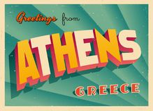 Vintage Touristic Greeting Card from Athens. Vintage Touristic Greeting Card from Athens - Vector EPS10. Grunge effects can be easily removed for a brand new Royalty Free Stock Images