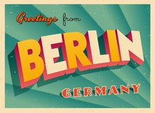 Vintage Touristic Greeting Card from Berlin. Vintage Touristic Greeting Card from Berlin - Vector EPS10. Grunge effects can be easily removed for a brand new Stock Photography