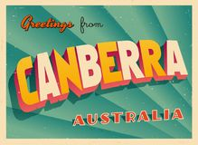 Vintage Touristic Greeting Card from Canberra. Vintage Touristic Greeting Card from Canberra - Vector EPS10. Grunge effects can be easily removed for a brand royalty free illustration