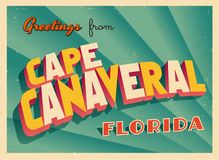 Vintage Touristic Greeting Card From Cape Canaveral, Florida. Stock Photography
