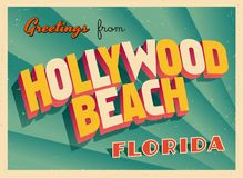 Vintage Touristic Greeting Card From Hollywood Beach, Florida. Vintage Touristic Greeting Card From Hollywood Beach, Florida - Vector EPS10. Grunge effects can stock illustration