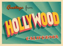 Vintage Touristic Greeting Card From Hollywood, California. Vintage Touristic Greeting Card From Hollywood, California - Vector EPS10. Grunge effects can be stock illustration
