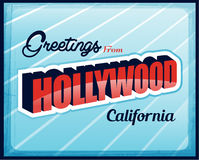 Vintage Touristic Greeting Card Hollywood Stock Images