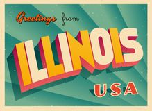 Vintage Touristic Greeting Card from Illinois. Royalty Free Stock Photo