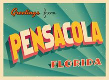 Vintage Touristic Greeting Card From Pensacola, Florida. Vintage Touristic Greeting Card From Pensacola, Florida - Vector EPS10. Grunge effects can be easily Royalty Free Stock Photos