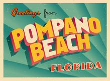 Vintage Touristic Greeting Card From Pompano Beach, Florida. Vintage Touristic Greeting Card From Pompano Beach, Florida - Vector EPS10. Grunge effects can be Royalty Free Stock Photos
