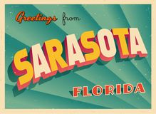 Vintage Touristic Greeting Card From Sarasota, Florida. Vintage Touristic Greeting Card From Sarasota, Florida - Vector EPS10. Grunge effects can be easily Stock Photo