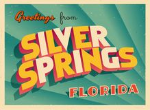 Vintage Touristic Greeting Card From Silver Springs, Florida. Vintage Touristic Greeting Card From Silver Springs Royalty Free Stock Images