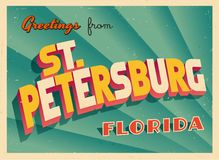 Vintage Touristic Greeting Card From St. Petersburg, Florida. Vintage Touristic Greeting Card From St. Petersburg, Florida - Vector EPS10. Grunge effects can be Stock Photography