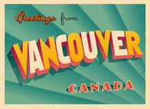 Vintage Touristic Greeting Card from Vancouver. Vintage Touristic Greeting Card from Vancouver - Vector EPS10. Grunge effects can be easily removed for a brand Stock Photos